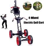 WUAZ Golf Électrique Chariot, Chariot De Golf avec Porte-Parapluie, 4 Roues Golf Push Cart avec Support Tableau De Bord, Facile Et Carry Fold, pour Les Amateurs De Golf