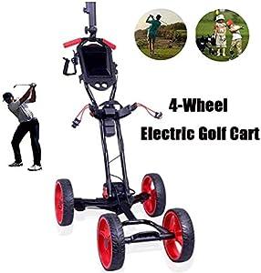 WUAZ Elektrische Golf-Trolley, Golf Caddy Mit Schirmhalter, 4-Rad Golf Push Cart Mit Ständer Anzeiger, Einfach Tragen Und Falten, Für Golf-Liebhaber