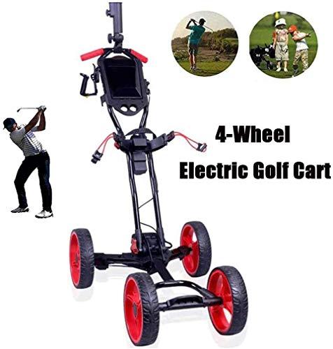 XINTONGSPP Extérieur de Golf électrique Chariot, Pliable 4 Roues Golf Push Cart, Facile Carry et...
