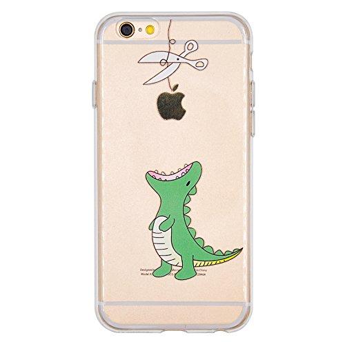 NEOFAY Cover iPhone 6 / 6S, Trasparénte Morbida Addensare Silicone Creativo Carino Modello Protezione Custodia Case (Dinosauro)
