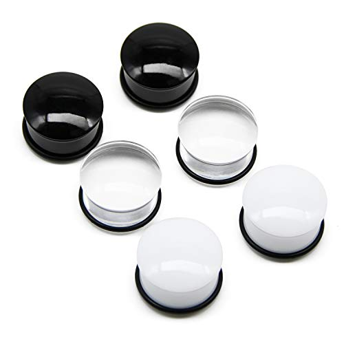 FECTAS 3 Paar Single Flared Piercing Plug Set Acryl Flesh Ohr Tunnel Expander Piercing Schmuck (4-20mm)
