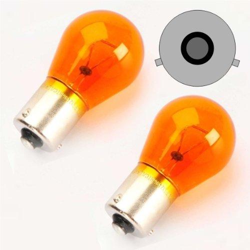 BAU15S02Y - PY21W parpadeante bombilla, Intermitentes, señal de vuelta, flash, indicadores, halógena lámpara, bombilla, Iluminación BAU15S 12V 21W Amarillas (pines desplazadas)
