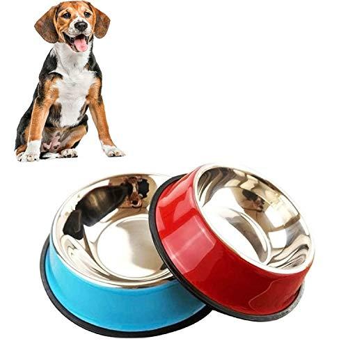 2 Stück Edelstahl Hundenapf, rutschfeste Hundenäpfe/Futternapf,Hundenapf Mittelgroße (22 cm)