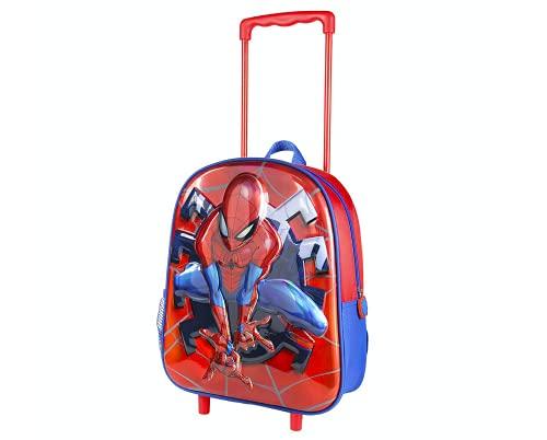 Spiderman Rucksack mit Rollen für Jungen, Schulrucksack für Kinder, Reisewagen Koffer Handgepäck, 3D Design, Geschenk für Kinder
