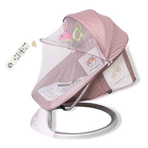 Electric Baby Swing Baby Bouncer Stuhl Baby-Wiege mit Fernbedienung, mit 5-Gang-Anpassung, 3-Gang-Timing, Bluetooth, Baby Swing Chair für Kinder im Alter von 0-3 Jahren, grau, grau WTZ012