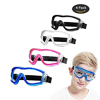 4 Pack Kids Safety Glasses Children Goggles Multicolor Eye Protective Anti Fog Full Eyes Protective Clear Lab Goggles Dustproof Windproof UV Playing Unisex Boys Girls For Outdoor Sport.