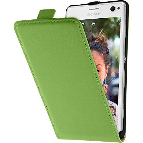 PhoneNatic Kunst-Lederhülle kompatibel mit Sony Xperia C4 / Dual - Flip-Hülle grün + 2 Schutzfolien