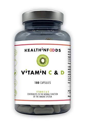 Vitamina C & D Altamente Concentrada-Healthinfoods -1200mg de Vit. C + 1500 U.I. de Vit. D3 por Dosis Diaria- Refuerza el Sistema Inmune y Fortalece tus Defensas -100% Vegano- 180 cápsulas-2 a 6 meses