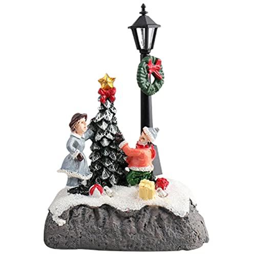 Ornamento per capanna legno luce a LED natalizia,Desktop per case di villaggio scena Natale in resina,Natale a LED Ornamento in resina per desktop villaggio incandescente per decorazione natalizia