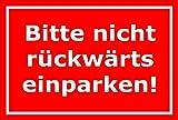 Cartel por favor no hacia atrás aparcar–Aparcamiento aparcamientos Garage–15x 20cm, 30x 20cm y 45x 30cm–bohrlöcher Pegatinas de espuma rígida aluminio laminado–s00091d