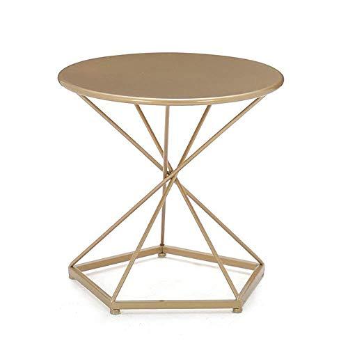 Home&Selected Furniture/Metall-Sofa Beistelltisch Runde Ecke Tisch Couchtisch Schlafzimmer Nachttisch D50 * H48CM (Farbe: Gold) (Color : Gold)