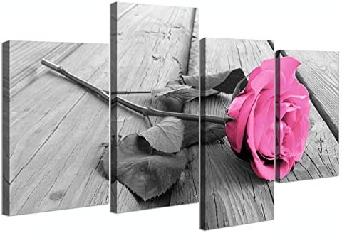 Black and White Rose Canvas Wall Art Bedroom Pink Flower Painting Pictures for Bathroom Wall product image
