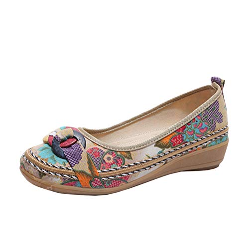Minetom Damen Vintage Ethnische Bestickte Schuhe Tanzschuhe Niedrigem Keil Ballerina Mary Jane Blumen Leinen Flache Halbschuhe Espadrilles A Beige 40 EU