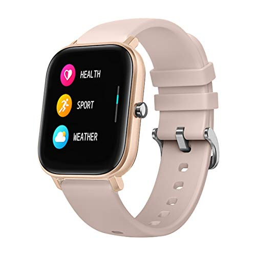 YNLRY Reloj inteligente P8 para hombre y mujer, pantalla táctil completa de 1,4 pulgadas, monitor de ritmo cardíaco, IP67, impermeable, GTS Sports Band (color oro rosa)