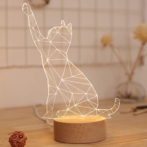 LEDMOMO Lucrative Gato Animal 3D Lámpara de mesa botón interruptor de madera maciza lámpara de mesa LED lámpara de noche para la casa Bedroome decoración infantil regalo