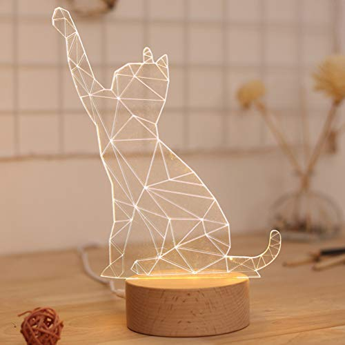 LEDMOMO Lucrative Chat Animal 3D Lampe De Table Bouton Interrupteur En Bois Massif Lampe De Table...