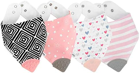 Bazzle Baby Bandana Bibs with Teethers for Natural Relief BPA Free Silicone Soother Girls 3 product image