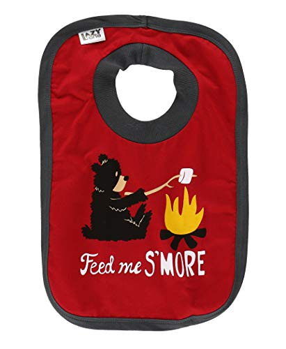 LazyOne Animal-Print Baby Bibs, Cute Baby Shower Gifts, One Size, Bear, S'mores, Camp Fire (Happy Camper, ONE SIZE)