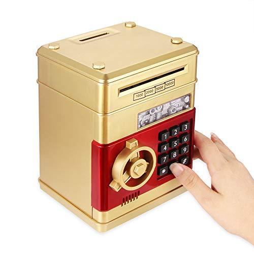 OurLeeme Elektronische Sparschwein, Passwort Geld Bank für Geld Münze ATM Mini Münze Banken Kinder Kinder (Gold)