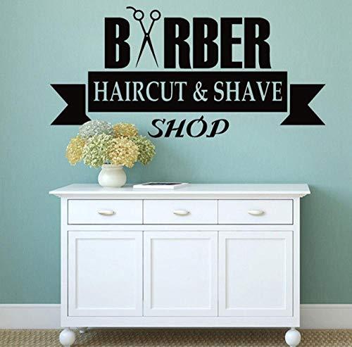 Wandaufkleber Friseur Schaufenster Vinyl Aufkleber Haarschnitt Und Rasur Muster Wandtattoo Schere Friseursalon Dekoration Barbershop Logo42x20cm