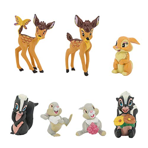 GHTERT 7 Pcs Lovely Fawn Deer Animal Figurines Toys Mini Figure Collection Playset, Cake Topper Toy Doll Set, Car doll, Office ornament, Miniature Decorations, Landscape Scenes