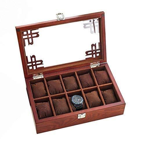 Manyao 10 joyería Red de Caja de Reloj de exhibición de la joyería Caja de Almacenamiento Cubierta del Cristal de Las Mujeres de los Hombres y