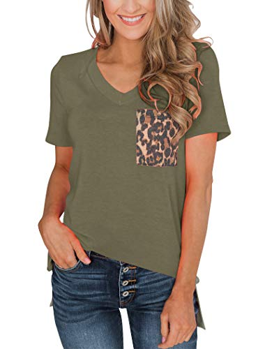 Minthunter Women's Casual Basic Tops Short Sleeve V Neck T Shirt with Leopard Pocket (Large, Olive)