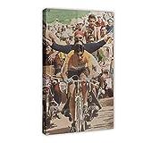 PLGG Póster de lona original de Eddy Merckx para bicicleta, para decoración de la sala de estar, dormitorio, 50 x 75 cm. Marco: