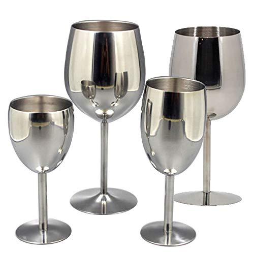 Wijnglazen van roestvrij staal 18/8 wijnglas metaal bar wijnglas champagne cocktail drinkbeker 240ml x 2pcs