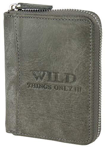 Echt-Leder Geldbörse mit RFID-Schutz - Herren Portmonee mit umlaufendem Reißverschluss, Kartenfächern und Münzfach in praktischer Geschenkbox (Grau)