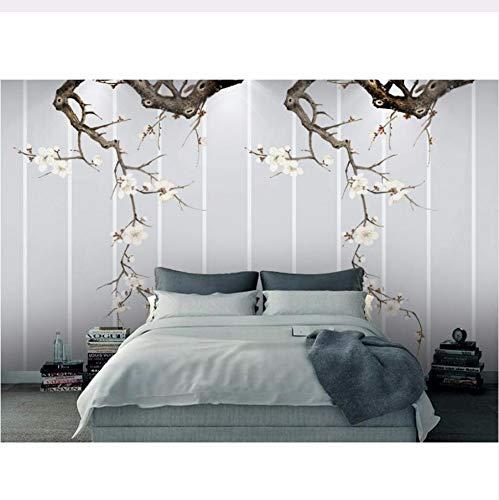 Pmhc muurschilderingen retro achtergrond plum bloesem Chinese stijl behang restaurant woonkamer sofa tv muur slaapkamer 3D muurschilderijen 400 x 280 cm.
