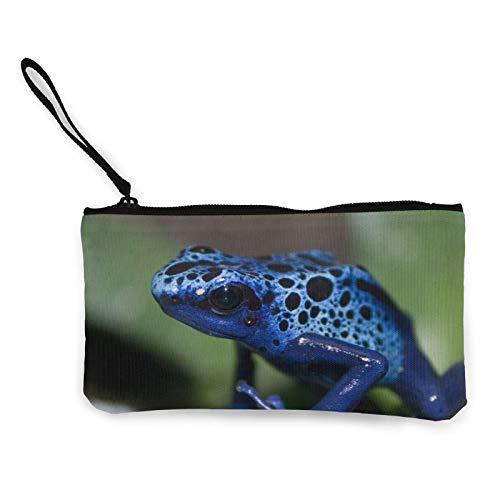 Moneda de lona, diseño de ranas azules de camuflaje con cremallera, bolsa de cosméticos de viaje multifunción, bolsa de maquillaje para teléfono móvil, paquete de lápices con asa