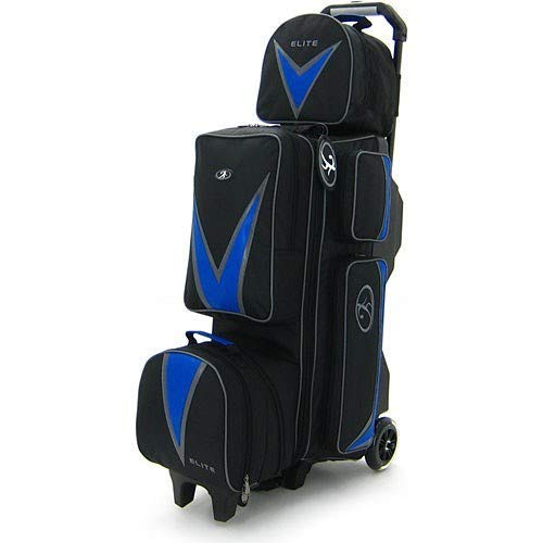 fx bowling bags Elite Deluxe 3-4-5 Blue Bowling Bag - League & Tournament Roller - Holds Up to 5 Bowling Balls