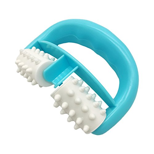 VANCIC 13.5 * 8.5 * 4cm Plastic Manual Round Handle 2 Wheels Muscle Massage Roller Massager Cellulite Roller for Legs Arms Back Muscle Pain Relief and Muscle Relaxation (Blue)