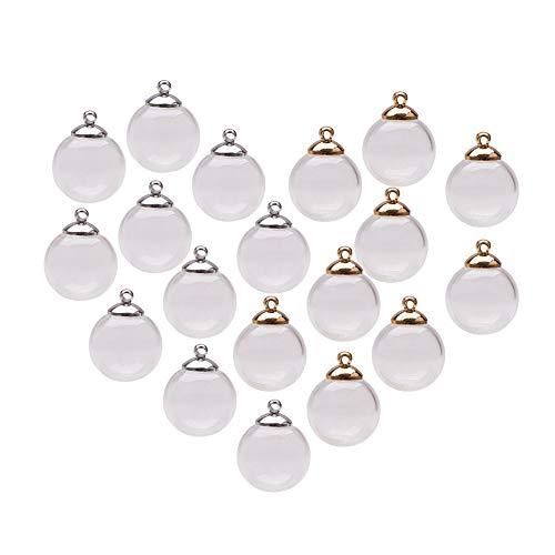 PandaHall Elite Set von 30 Sets hohlen Glasperlen mundgeblasenem Glas Perlen Runde Perlen zur Hälfte gebohrt für die Herstellung von Ohrringe oder Handwerk, transparent, 16mm, Bohrung: 3,5 mm