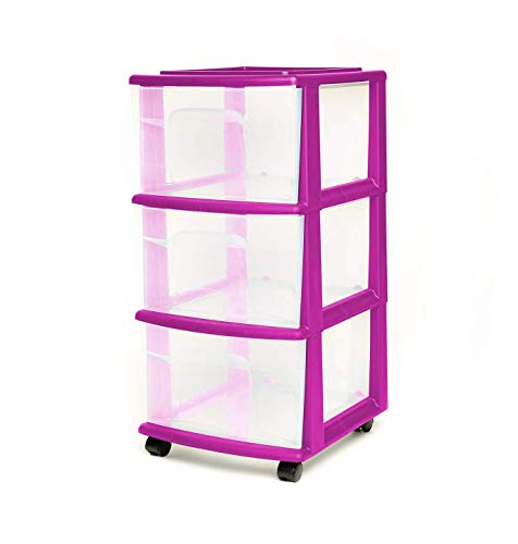 HOMZ 3 Drawer Medium Storage Cart, Set of 1, Purple