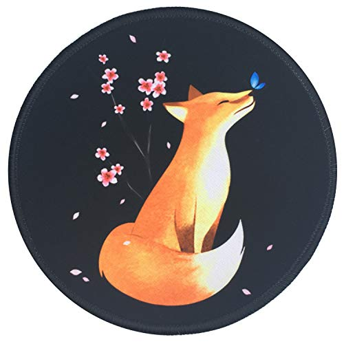 Mouse Pad, Fox Cherry Blossom Flower Vintage Mousepad, Non-Slip Rubber Base Mouse Mat with Stitched Edge, Waterproof Office Mouse Pads for Computers Laptop, 7.87 x 7.87 Inch