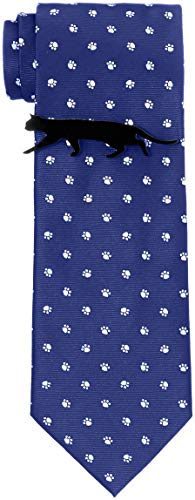[ドレスコード101] 猫好きさん必見 ネコのネクタイとネコのタイピンの2点セット ボックス付 プレゼント ギフト メンズ おもしろ 洗える ネクタイ 可愛い ネクタイピンおしゃれ 猫 ねこ 通勤 ビジネス ネクタイ&タイピンセット にくきゅう×ブルー 日