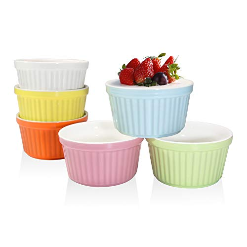 Ramekins Set 4 OZ Oven Safe, Porcelain Ramekins for Creme Brulee, Souffle, Ice Cream, Desserts, Baking Dish Set, Souffle Dishes, Cupcake Baking Cups, Set of 6, Colorful