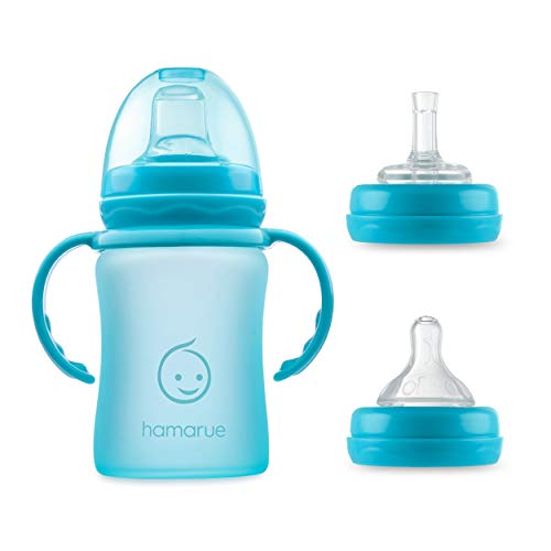 Hamarue 3-in-1 Glass Sippy Cups for Toddlers | Silicone Coated Glass | Non-Toxic | Baby Glass Straw Cup (Teal, 5 oz)