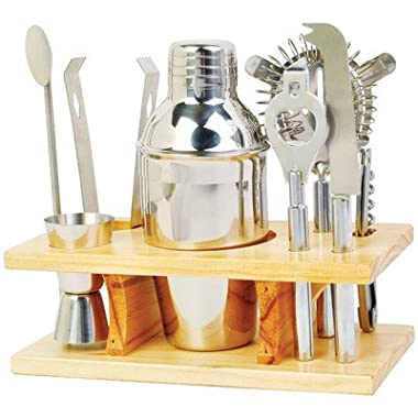 9 Piece Stainless Steel Cocktail Set with Stand