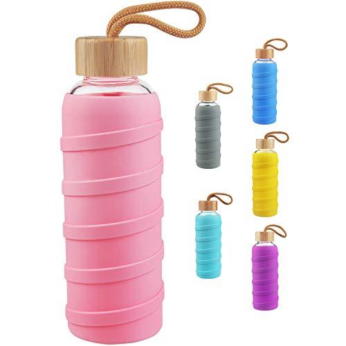 SHBRIFA Botella de Agua de Vidrio de Borosilicato Deportivo 480ml / 1000ml / 1 Litre, Botella de Agua de Cristal con Funda de Silicona y Tapa de Bambu a Prueba de Fugas(480ml Rosa)