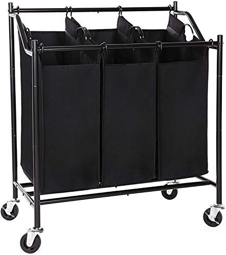 SONGMICS 3-Bag Rolling Laundry Sorter Cart Heavy-Duty Sorting Hamper W' Removable Bags & Brake Casters Black URLS70H