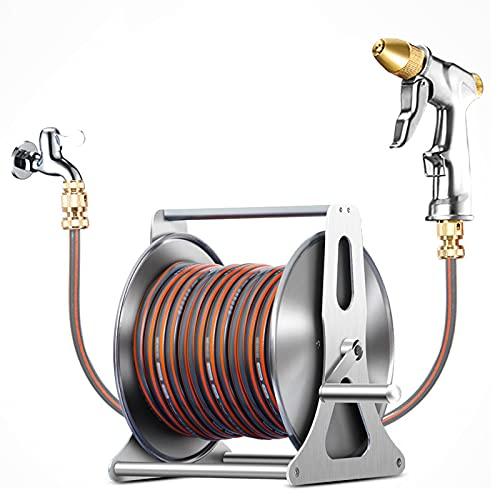Herramientas de manómetro de acero inoxidable carrete de manguera de acero inoxidable, soporte de carrete de manguera móvil al aire libre, móvil, soporte de manguera retráctil de manivela metálica