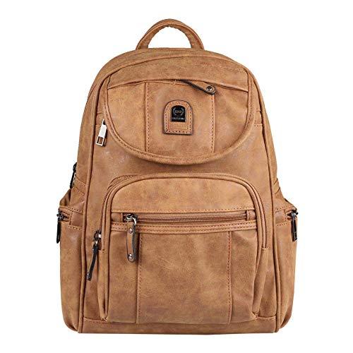 OBC Damen Rucksack Stadtrucksack Backpack Daypack Cityrucksack Leder Optik Tasche Handtasche Shopper Tagesrucksack Crossbag Schultertasche (Braun 30x30x14 cm)