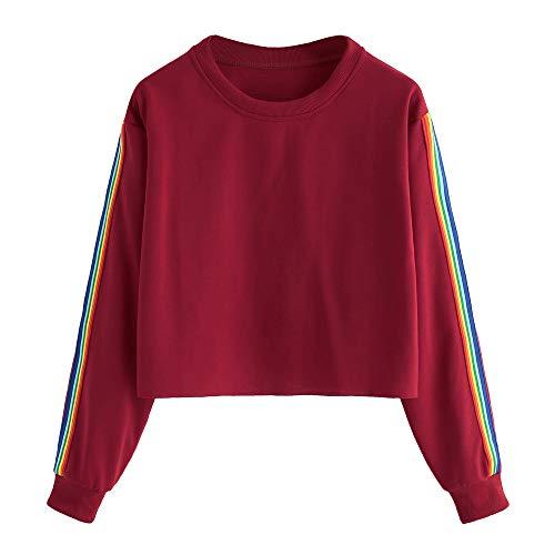 Homebaby Felpa Felpe Corte Tumblr Ragazza Donna Rainbow,Ragazza Sweatshirt Elegante Pullover Autunno Manica Lunga Crop Top Maglietta Cotone Camicette T-Shirt Yoga Fitness Calcio Sportiva (S, Vino)