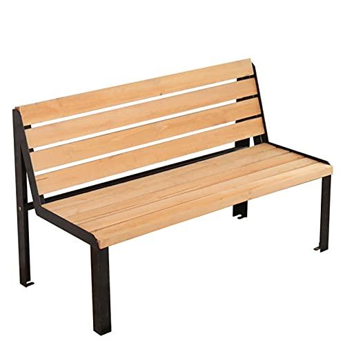 Silla de parque de madera maciza al aire libre, silla de hierro forjado, banco de jardín con respaldo doble, anticorrosión y antioxidante, adecuado para exteriores e interiores