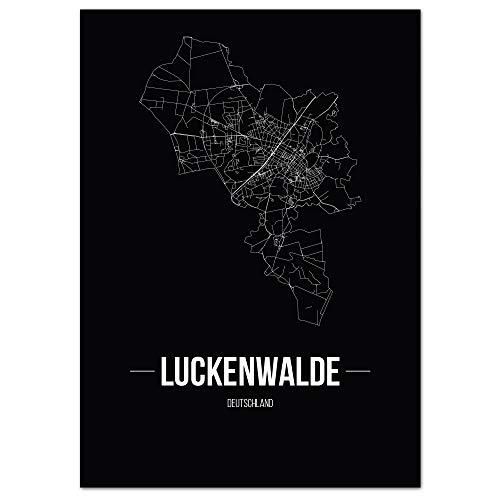 JUNIWORDS Stadtposter - Wähle Deine Stadt - Luckenwalde - 21 x 30 cm Poster - Schrift B - Schwarz