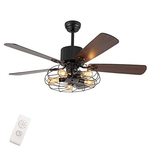 Lámpara de araña clásica con ventilador y mando a distancia, bombilla E27 con ventilador de techo ajustable de cobre, motor hecho con hoja de madera reversible, color marrón