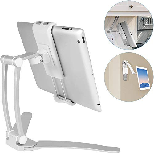 """Macally 2-in-1 Kitchen Tablet Stand & iPad Wall Mount / Under Cabinet Holder- Perfect for Recipe Reading on Countertop or Using on Office Desktop- Fits iPad iPhone Samsung Tab Devices up to 7.5"""" Wide"""